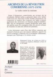 Archives De La Revolution Comorienne (1975-1978) ; Le Verbe Conte La Coutume - 4ème de couverture - Format classique