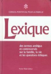 Lexique - Des Termes Ambigus Et Controverses - Intérieur - Format classique