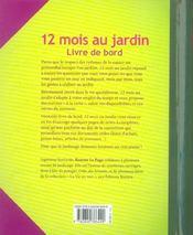 12 mois au jardin ; livre de bord - 4ème de couverture - Format classique