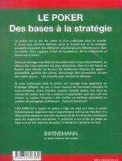 Le Poker ; Des Bases A La Strategie - 4ème de couverture - Format classique