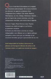 Dictionnaire Des Pharaons - 4ème de couverture - Format classique