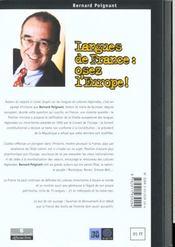 Langues De France, Osez L'Europe ! - 4ème de couverture - Format classique