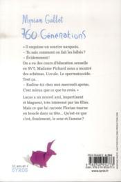 760 générations - 4ème de couverture - Format classique