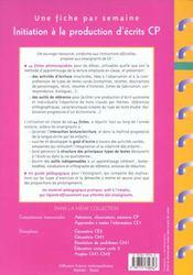Initiation à la production d'écrits ; CP - 4ème de couverture - Format classique