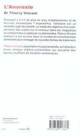 L'Anorexie - 4ème de couverture - Format classique