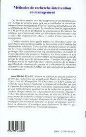 Methodes De Recherche-Intervention En Management - 4ème de couverture - Format classique