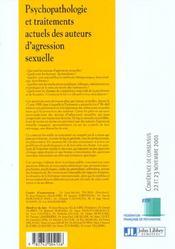 Psychopathologie Et Traitements Actuels Des Auteurs D'Agression Sexuelle - 4ème de couverture - Format classique