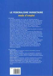 Le Federalisme Budgetaire : Mode D'Emploi - 4ème de couverture - Format classique