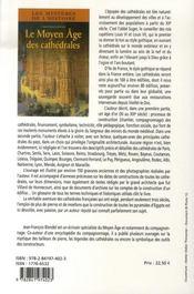 Le moyen âge des cathédrales - 4ème de couverture - Format classique