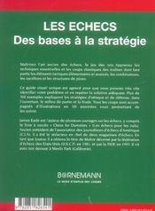 Les échecs ; des bases à la stratégie - 4ème de couverture - Format classique