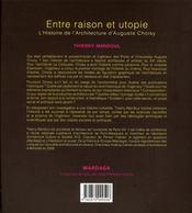 Histoire de l'architecture d'Auguste Choisy ; entre raison et utopie - 4ème de couverture - Format classique