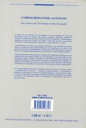 L'Ordoliberalisme Allemand ; Aux Sources De L'Economie Sociale De Marche - 4ème de couverture - Format classique