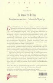 Vauderie D Arras. Une Chasse Au Sorciere A L Automne Du Moyen Age - 4ème de couverture - Format classique