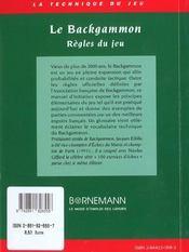Le Backgammon ; Regles Du Jeu - 4ème de couverture - Format classique