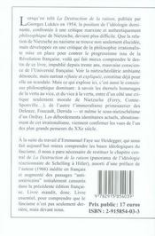 La destruction de la raison ; nietzsche - 4ème de couverture - Format classique