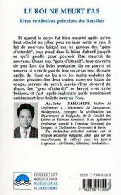 Le Roi Ne Meurt Pas : Rites Funeraires Princiers Du Betsileo Madagascar - 4ème de couverture - Format classique