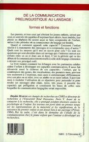 De La Communication Prelinguistique Au Langage ; Formes Et Fonctions - 4ème de couverture - Format classique