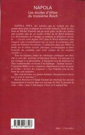 Napola ; Les Ecoles D'Elites Du Troisieme Reich - 4ème de couverture - Format classique