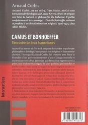 Camus et bonhoeffer - 4ème de couverture - Format classique