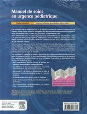 Manuel de soins en urgence pédiatrique - 4ème de couverture - Format classique