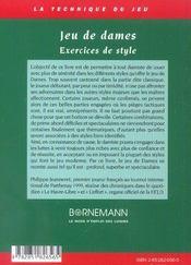 Jeu De Dames - Exercices De Style - 4ème de couverture - Format classique