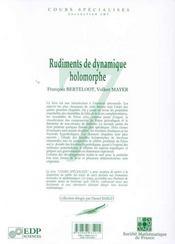 Rudiments De Dynamique Holomorphe - 4ème de couverture - Format classique