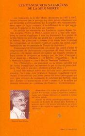 Les Manuscrits Nazareens De La Mer Morte - 4ème de couverture - Format classique