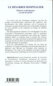Le Desarroi Hospitalier ; Patients Et Therapeutes En Mal De Parole - 4ème de couverture - Format classique