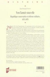 Vers L Armee Nouvelle. L Etat Et La Defense Au Lendemain De La Defaite De 1870 - 4ème de couverture - Format classique