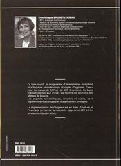 Sciences appliquees a l'alimentation et a l'hygiene cap/bep - 4ème de couverture - Format classique