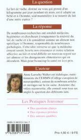 Lait De Vache : Blancheur Trompeuse N.25 - 4ème de couverture - Format classique