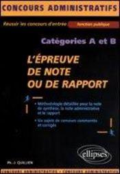 L'Epreuve De Note Ou De Rapport Categories A Et B Fonction Publique Concours Administratifs - Intérieur - Format classique