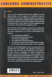 L'Epreuve De Note Ou De Rapport Categories A Et B Fonction Publique Concours Administratifs - 4ème de couverture - Format classique