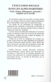 L'Exclusion Sociale Dans Les Alpes Maritimes : Vih, Drogue, Delinquance, Precarite - 4ème de couverture - Format classique