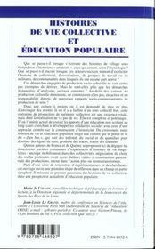 Histoire De La Vie Collective Et Education Populaire - 4ème de couverture - Format classique