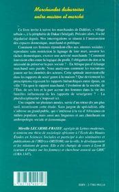 Marchandes Dakaroises Entre Maison Et Marche ; Approche Anthropologique - 4ème de couverture - Format classique