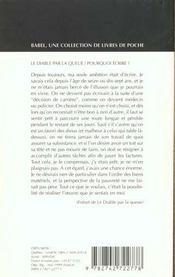Le Diable Par La Queue, Suivi De : Pourquoi Ecrire ? Babel 379 - 4ème de couverture - Format classique
