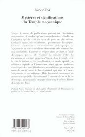 Mysteres et significations du temple maconnique - 4ème de couverture - Format classique