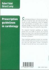 Prescription guidelines in cardiology - 4ème de couverture - Format classique