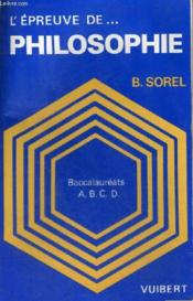 L'Epreuve De Philosophie. Baccalaureats Abcde – Beatrice Sorel – ACHETER OCCASION – 1986