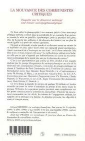 La Mouvance Des Communistes Critiques - 4ème de couverture - Format classique