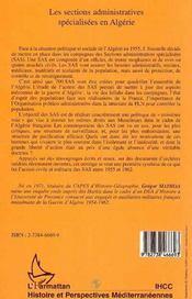 Les sections administratives spécialisées en Algérie ; entre idéal et réalité, 1955-1962 - 4ème de couverture - Format classique