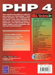 L'Intro Php4 - 4ème de couverture - Format classique