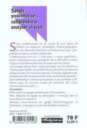 Savoir problématiser ; comprendre et analyser un sujet - 4ème de couverture - Format classique