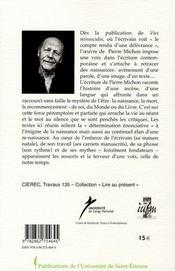 Pierre Michon : naissance et renaissances - 4ème de couverture - Format classique