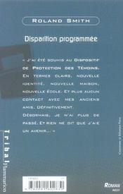 Disparition Programmee - 4ème de couverture - Format classique