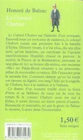 Le colonel Chabert - 4ème de couverture - Format classique