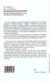 Le Religieux Des Sociologues ; Trajectoires Personnelles Et Debats Scientifiques - 4ème de couverture - Format classique