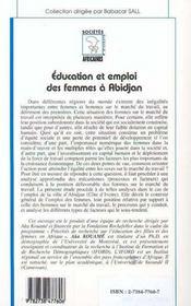 Éducation et emploi des femmes à Abidjan - 4ème de couverture - Format classique