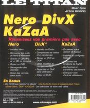 Nero, DivX, Kazaa - 4ème de couverture - Format classique